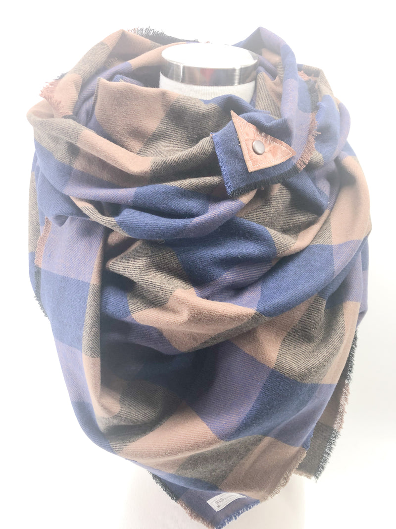 Purple & Navy Check Blanket Scarf with Leather Detail