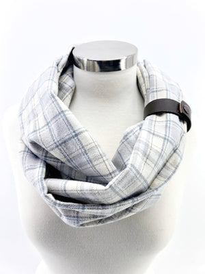 White Christmas Plaid Eternity Scarf with a Leather Cuff