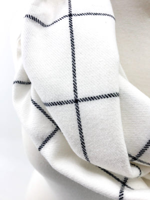 White & Black Windowpane Eternity Scarf with a Leather Cuff