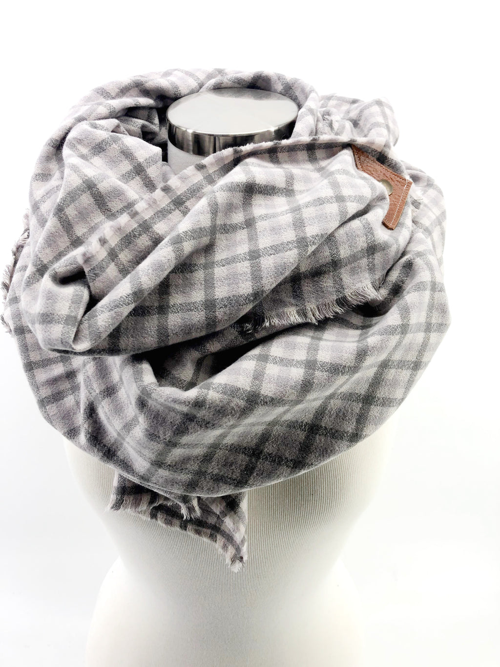 Dove Plaid Blanket Scarf with Leather Detail