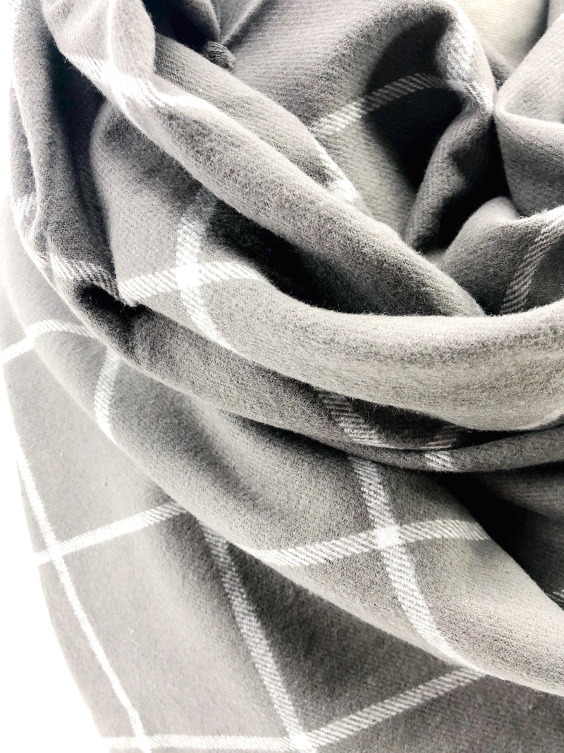 Gray & White Windowpane Blanket Scarf with Leather Detail