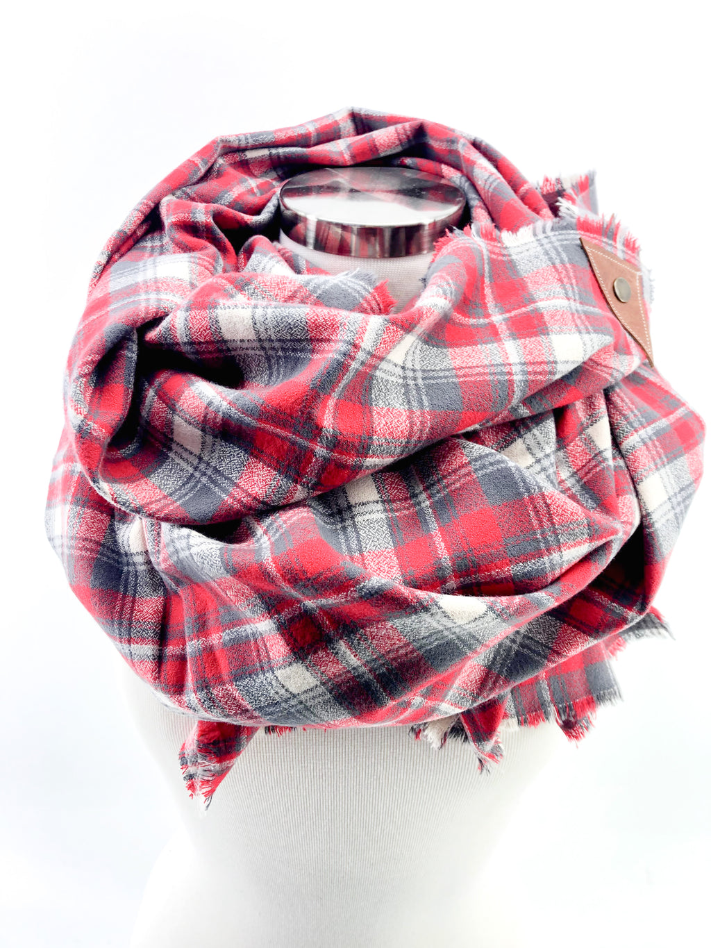 Festive Plaid Blanket Scarf with Leather Detail