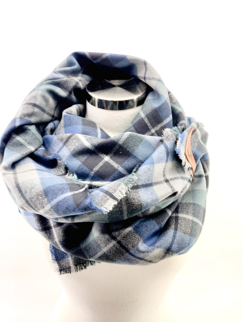 Shadow Plaid Blanket Scarf with Leather Detail