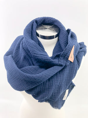 Navy Gauze Blanket Scarf with Leather Detail
