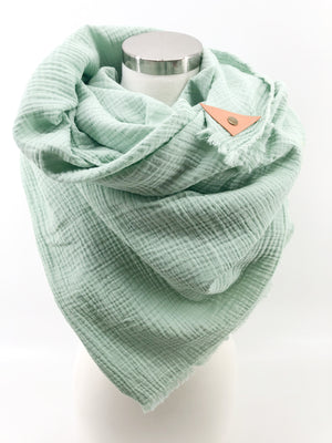 Ocean Gauze Blanket Scarf with Leather Detail