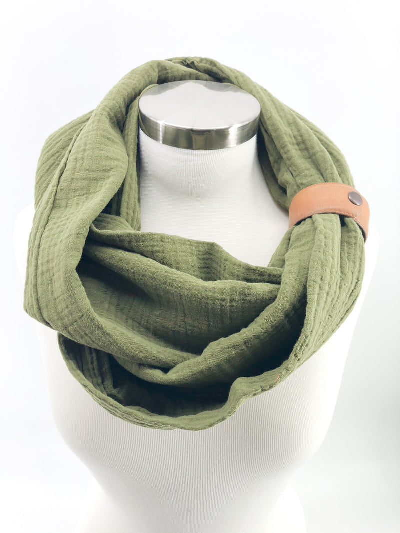 Olive Gauze Eternity Scarf with a Leather Cuff