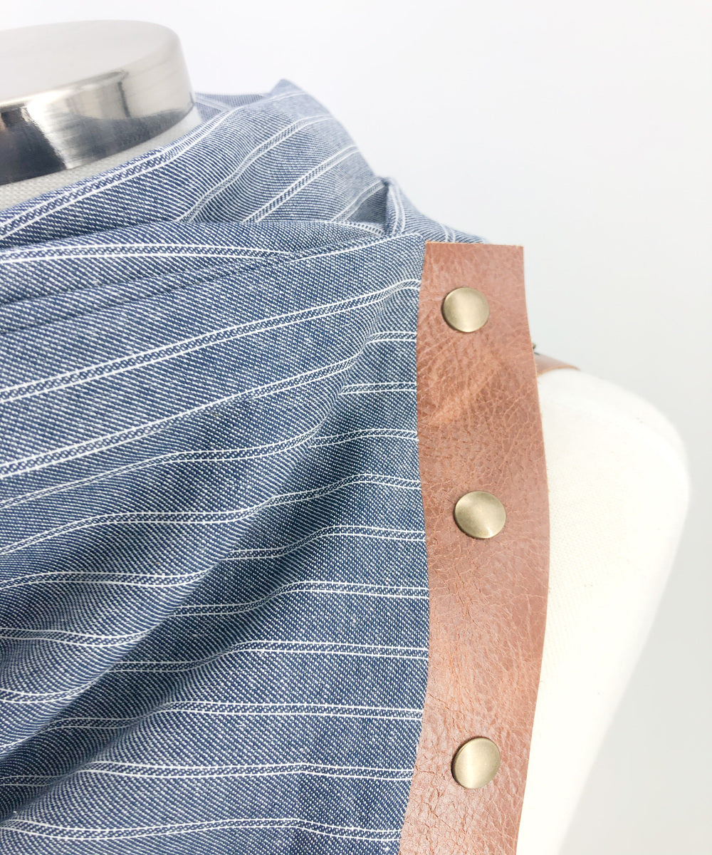 Chambray Stripe Multi Snap Scarf with Leather Snaps
