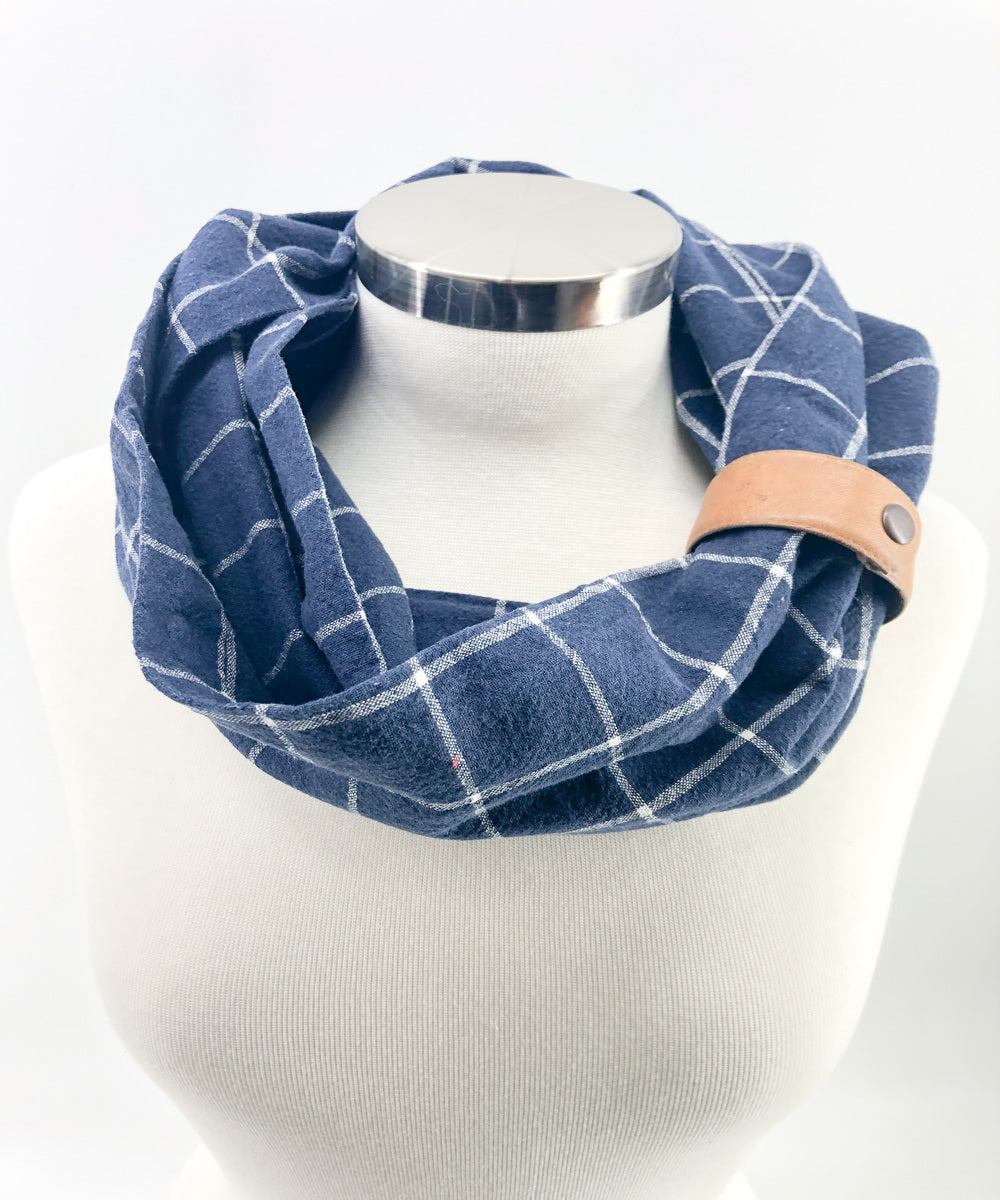 Navy Windowpane Eternity Scarf with a Leather Cuff