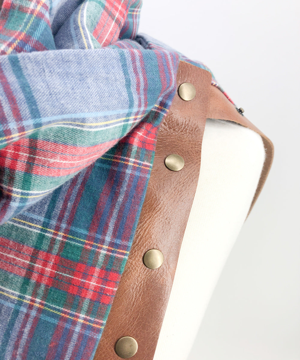 Chambray Plaid Multi Snap Scarf with Leather Snaps