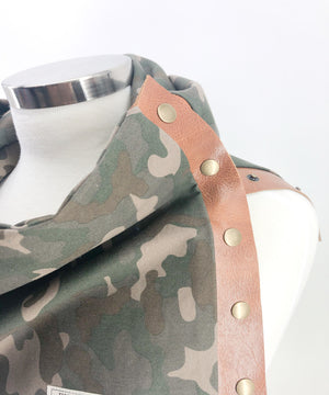 Camo Multi Snap Scarf with Leather Snaps - *Wraps 2x Around*