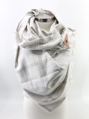 Bone Plaid Blanket Scarf with Leather Detail