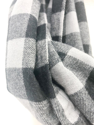 Gray & Black Buffalo Check Eternity Scarf with a Leather Cuff