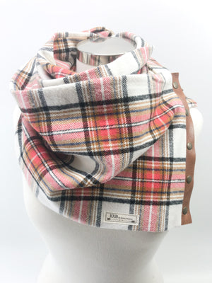 Red & Rust Plaid Multi Snap Scarf with Leather Snaps