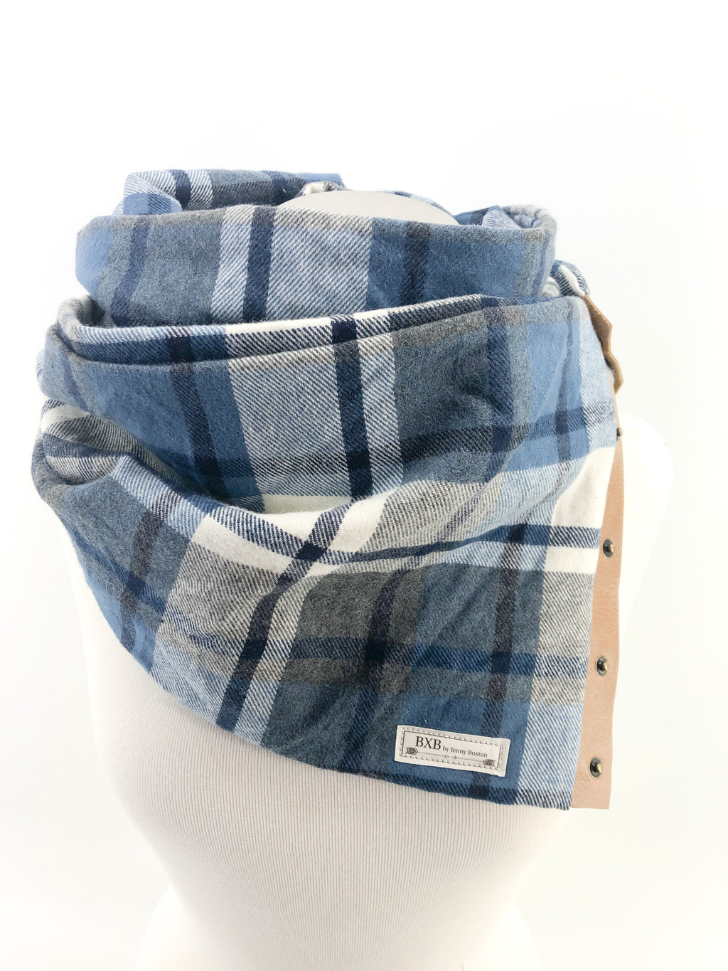 Blue & Gray Plaid Multi Snap Scarf with Leather Snaps