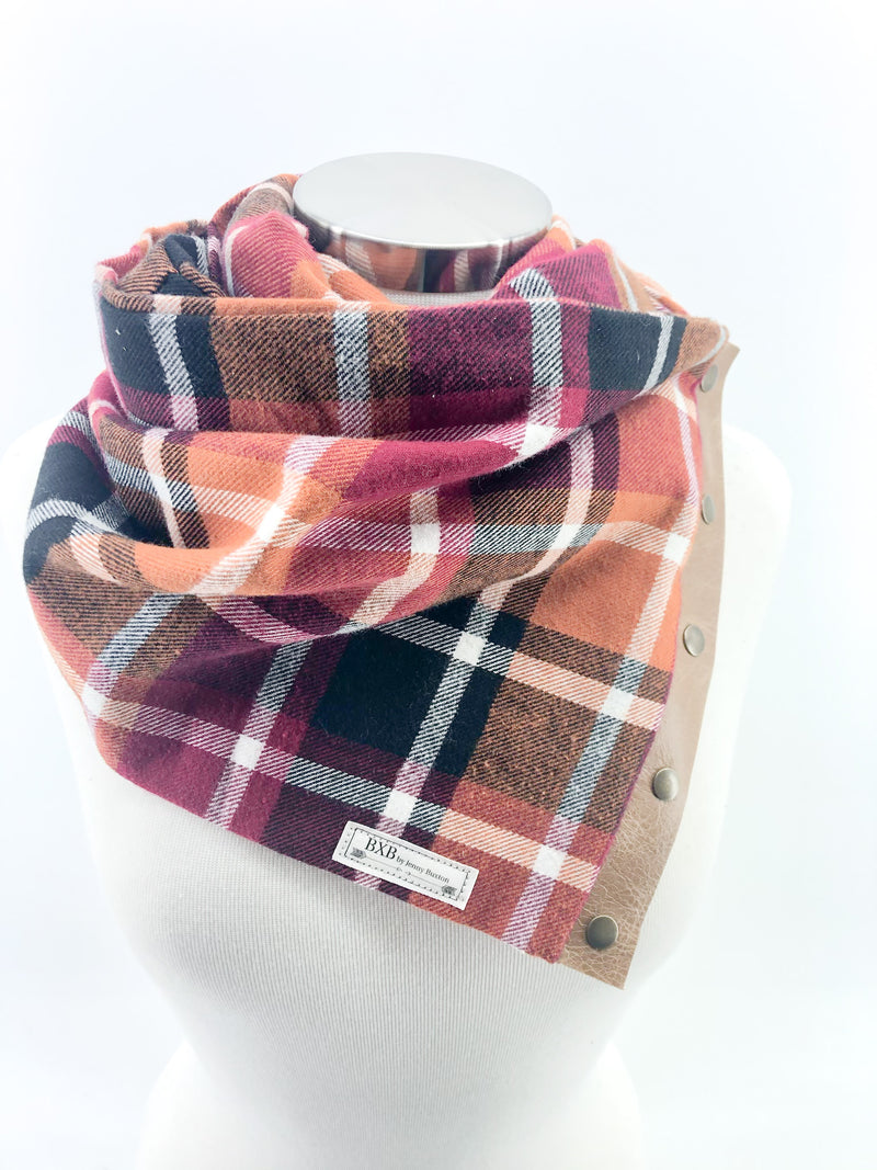 Harvest Plaid Multi Snap Scarf with Leather Snaps