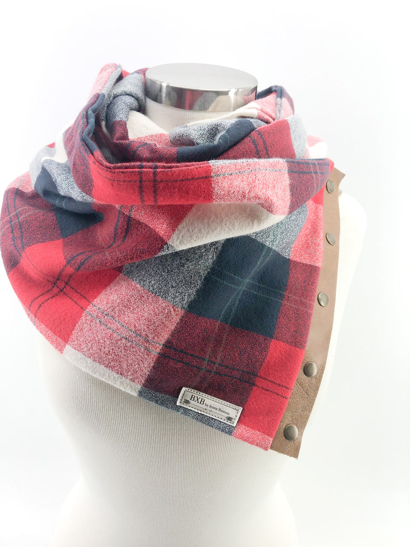 New England Plaid Multi Snap Scarf with Leather Snaps