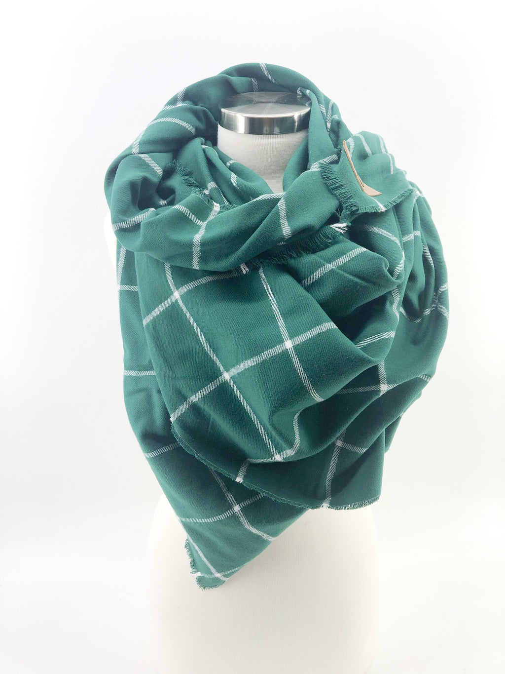 Green and White Windowpane Blanket Scarf with Leather Detail
