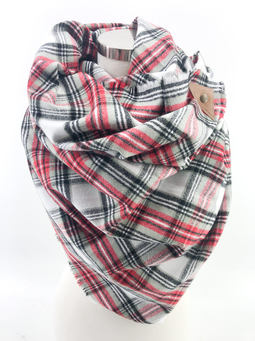 Winter in the Country Plaid Blanket Scarf with Leather Detail