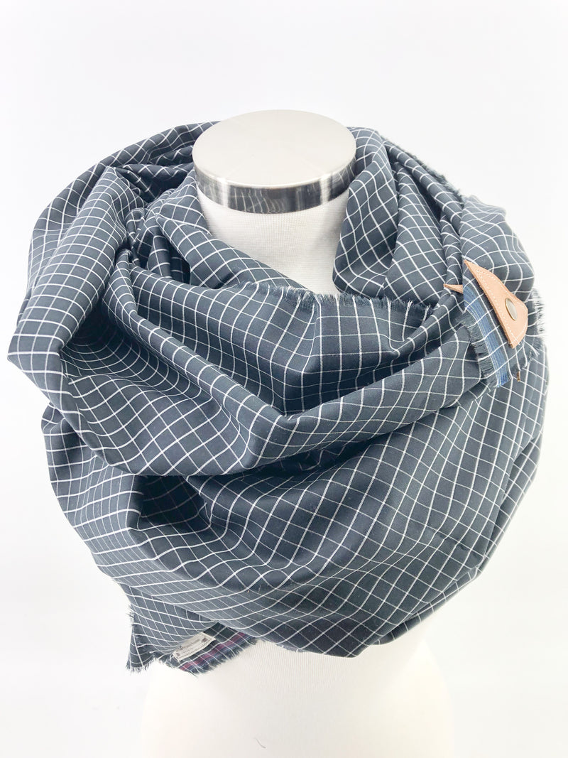 Black & White Micro Check Blanket Scarf with Leather Detail