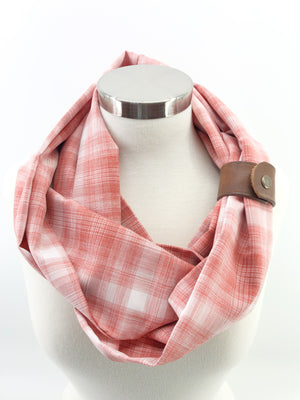 Salmon Plaid Eternity Scarf with a Leather Cuff
