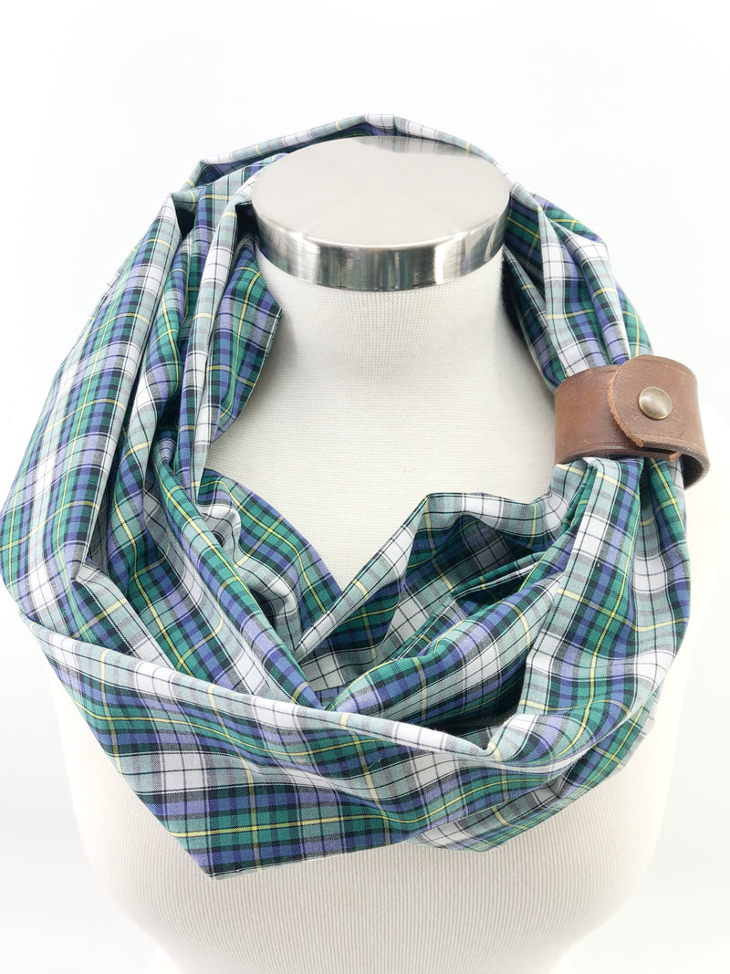 Summer Classic Plaid Eternity Scarf with a Leather Cuff