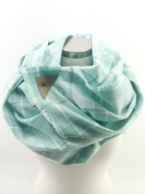 Aqua Plaid Blanket Scarf with Leather Detail