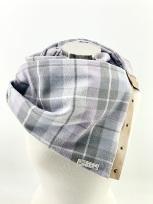 Lavender Plaid Multi Snap Scarf with Leather Snaps
