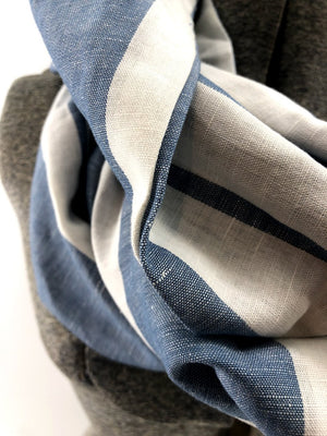 Light Blue Wide Stripe Linen Eternity Scarf with a Leather Cuff