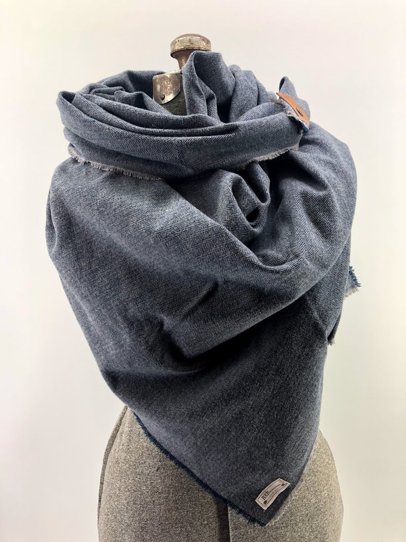 Navy Herringbone Blanket Scarf with Leather Detail