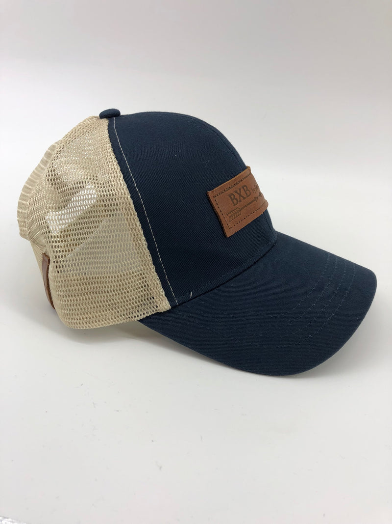 Navy & Oyster BXB Leather Logo Trucker Hat