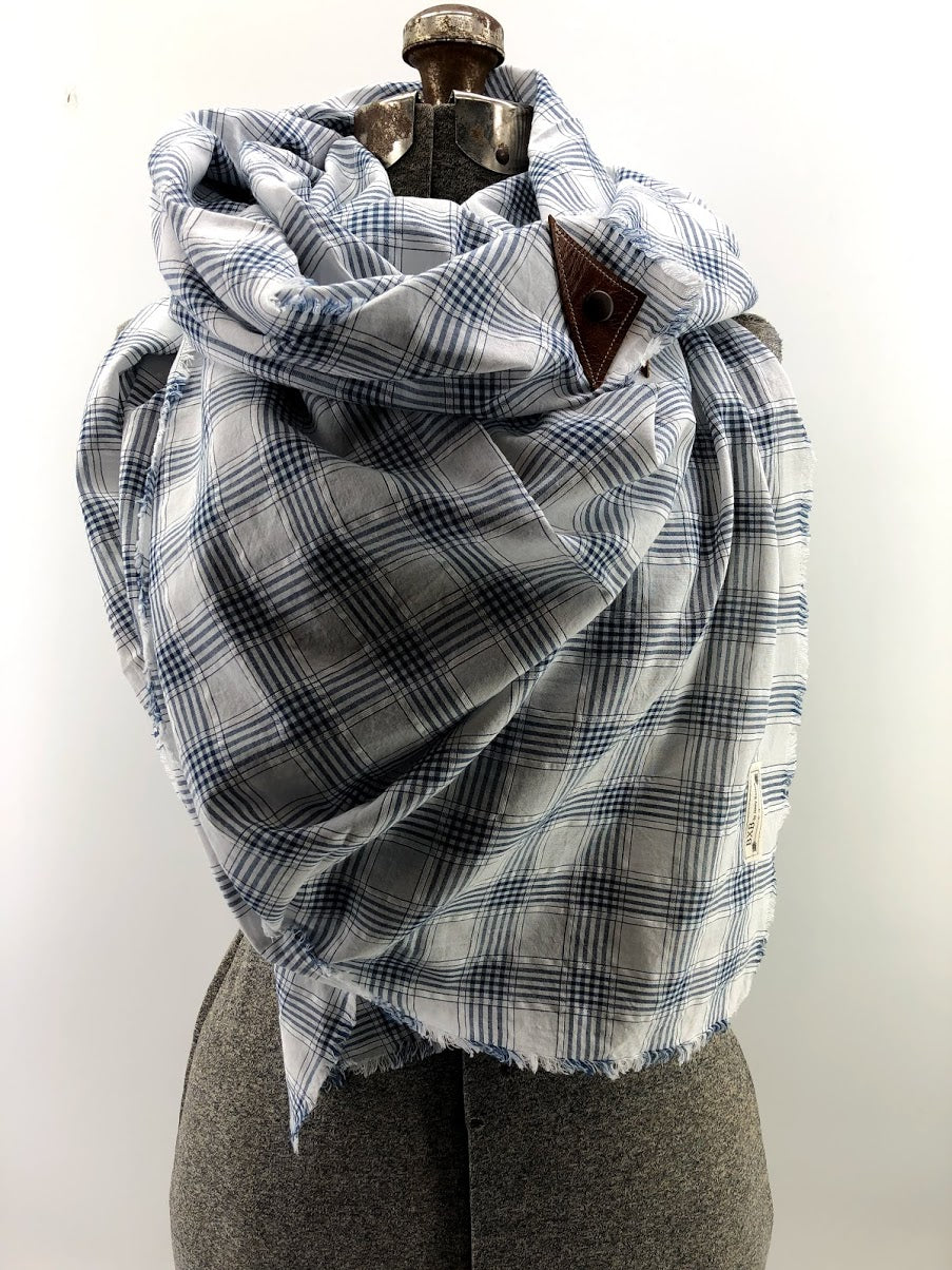 Navy Small Plaid Blanket Scarf with Leather Detail