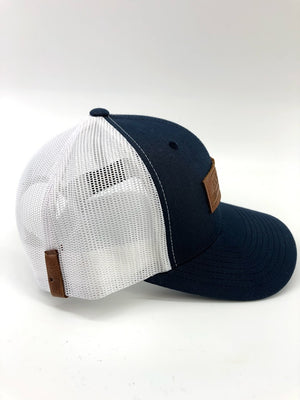 Navy & White BXB Leather Logo Trucker Hat