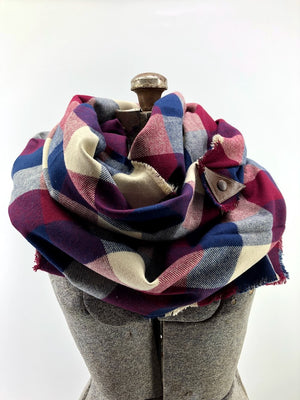 Navy & Wine Buffalo Check Blanket Scarf with Leather Detail