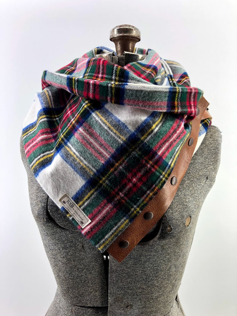 New Holiday Plaid Multi Snap Scarf with Leather Snaps