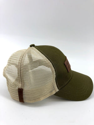 Olive & Oyster BXB Leather Logo Trucker Hat