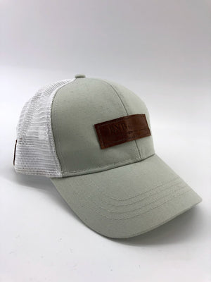 Oyster & White BXB Leather Logo Trucker Hat