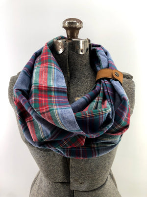 Chambray Blue & Red Plaid Cuffed Eternity Scarf with Cuff