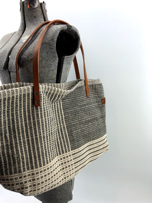 Plaid Woven Rug Bag with Upcycled Horse Reign Handles