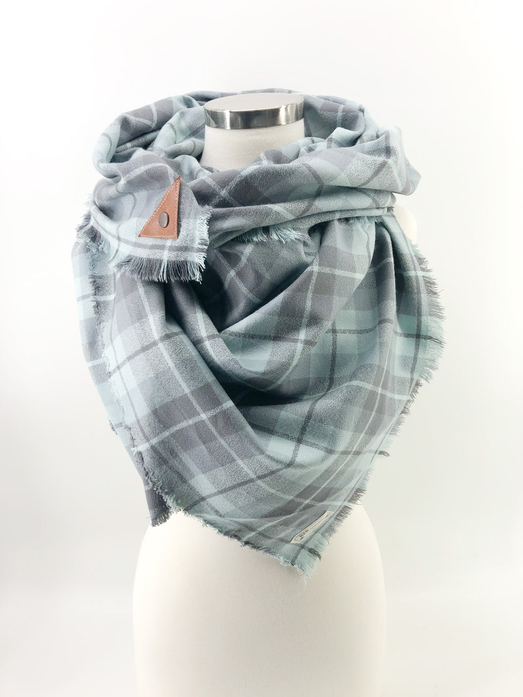 Rain Plaid Blanket Scarf with Leather Detail