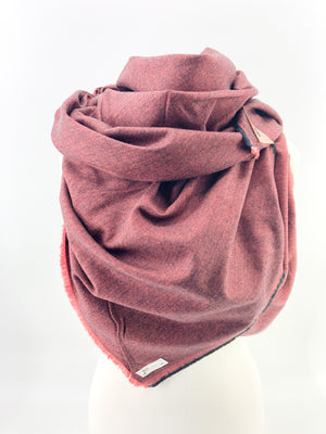 Black & Red Herringbone Blanket Scarf with Leather Detail