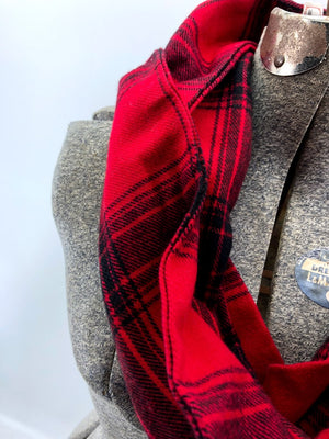 Red & Black Plaid Eternity Scarf with a Leather Cuff