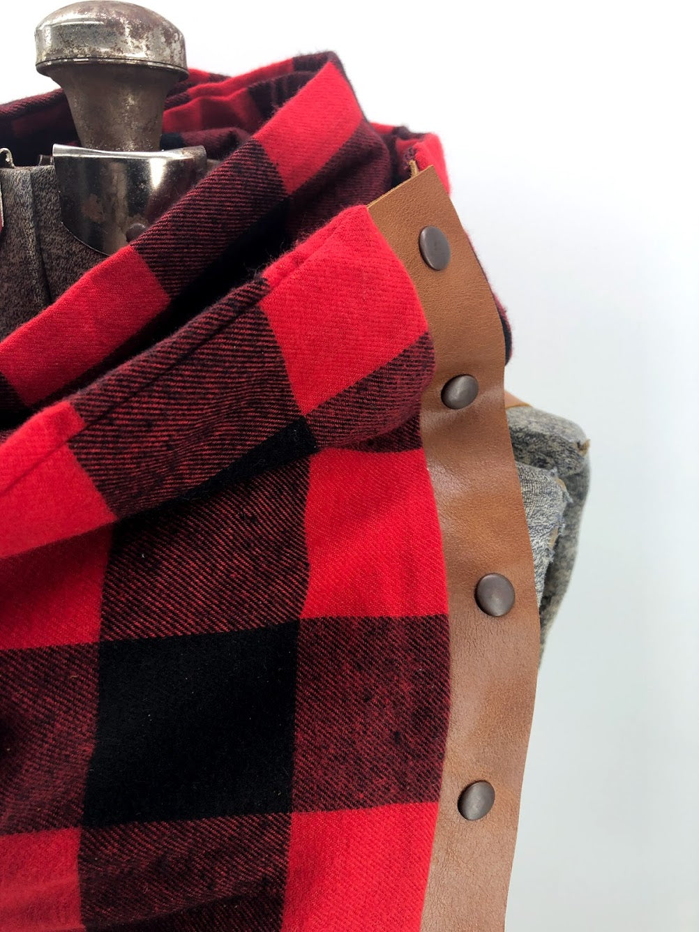Black & Red Buffalo Check Multi Snap Scarf with Leather Snaps