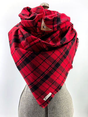 Red Plaid Blanket Scarf with Leather Detail