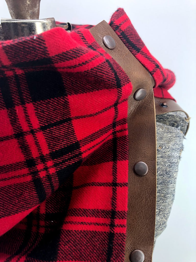 Red Plaid Multi Snap Scarf with Leather Snaps
