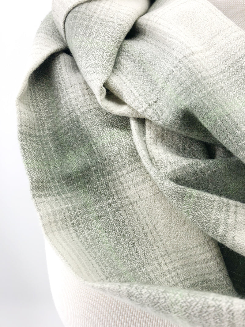 Sage Plaid Eternity Scarf with a Leather Cuff