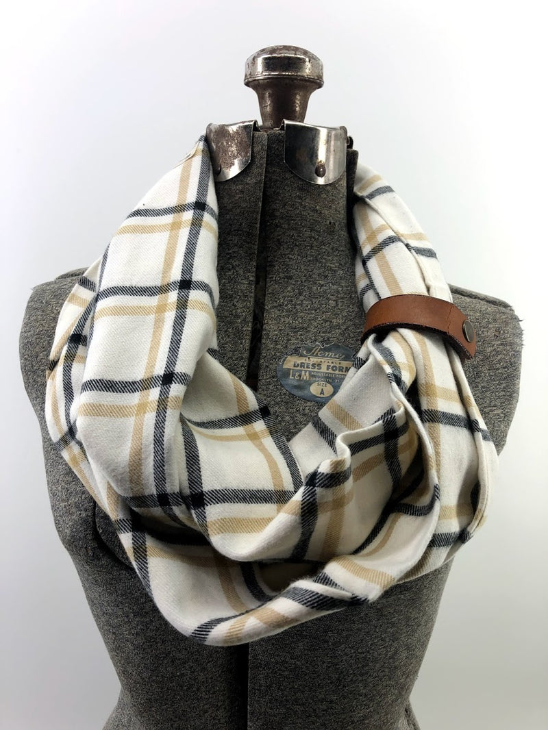 Tan & Mustard Window Pane Eternity Scarf with a Leather Cuff