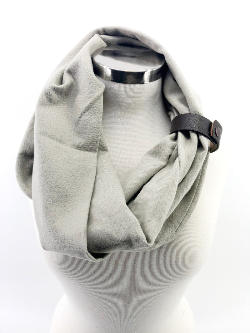 Wheat Herringbone Eternity Scarf with a Leather Cuff