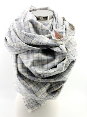 White Christmas Plaid Blanket Scarf with Leather Detail