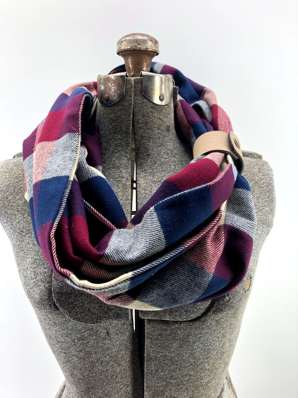 Navy & Wine Buffalo Check Eternity Scarf with a Leather Cuff