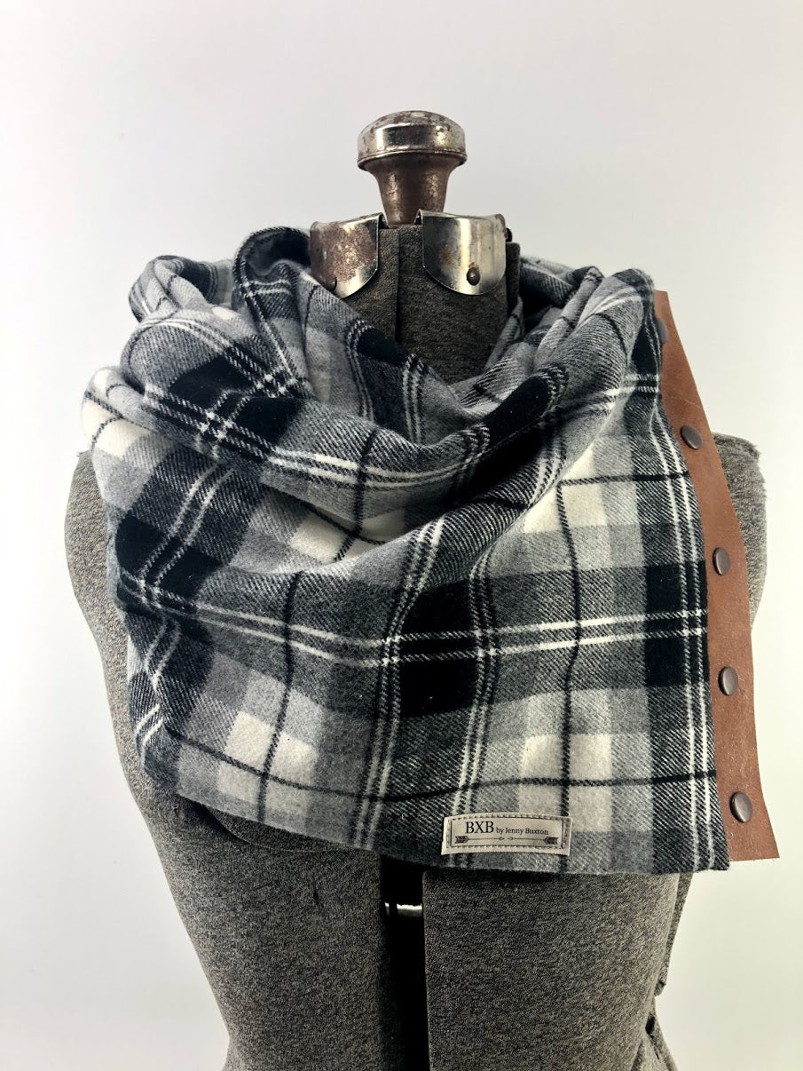 Black Cream & Gray Plaid Multi Snap Scarf with Leather Snaps